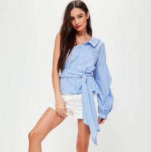 Missguided one shoulder tie front striped shirt